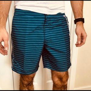 IBIZA Blue Stripe Swim Trunks Shorts New